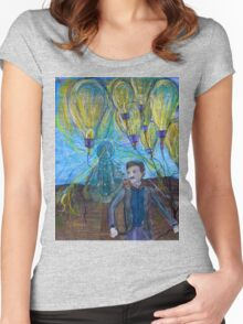 Nikola Tesla Freeing the light bulb balloons Women's Fitted Scoop T-Shirt