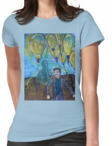 Nikola Tesla Freeing the light bulb balloons Womens Fitted T-Shirt
