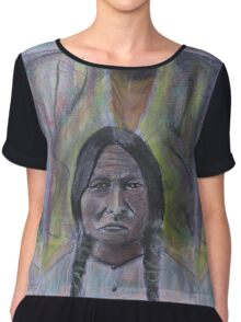 sitting bull with feather pastel drawing Chiffon Top