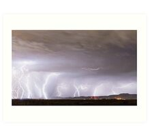 Lightning Thunderstorm Extreme Weather Over Golden Colorado Art Print