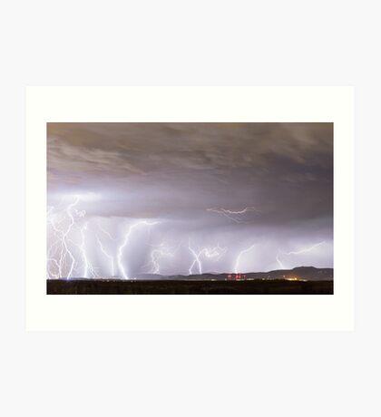 Lightning Thunderstorm Extreme Weather Over Golden Colorado Art Print
