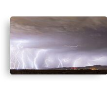 Lightning Thunderstorm Extreme Weather Over Golden Colorado Canvas Print