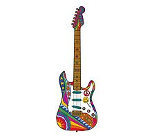 Psychedelic Guitar Photographic Print