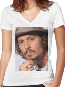 Cool Johnny Depp 2 Women's Fitted V-Neck T-Shirt