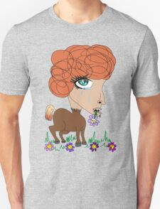 Crying Horse Woman Unisex T-Shirt