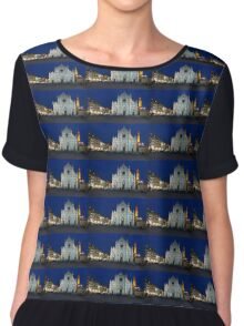 Blue Hour - Santa Croce Church in Florence, Italy Chiffon Top