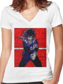Izuku Midoriya - Boku no Hero Academia | My Hero Academia Women's Fitted V-Neck T-Shirt