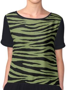 0440 Moss Green or Turtle Green Tiger Chiffon Top
