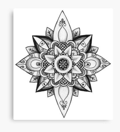 Black and White Mandala - Pencil Drawing Canvas Print