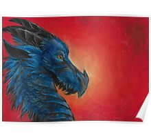 Blue asian dragon with red background and yellow eyes  Poster