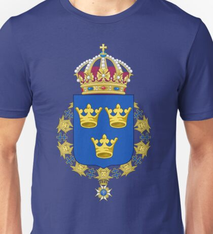 The Coat of Arms of Kingdom of Sweden  Unisex T-Shirt