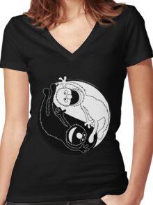 Sesame Balance Women's Fitted V-Neck T-Shirt