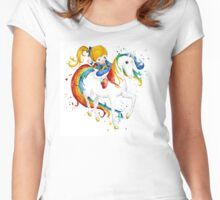 Watercolor Rainbow Brite Women's Fitted Scoop T-Shirt