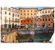 Neptune Fountain on Piazza Navona - Impressions Of Rome Poster