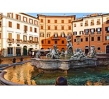 Neptune Fountain on Piazza Navona - Impressions Of Rome Photographic Print