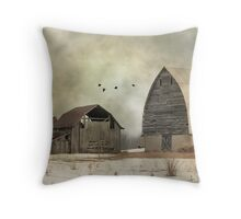 Old Barns - Photograph - Digital Art Throw Pillow