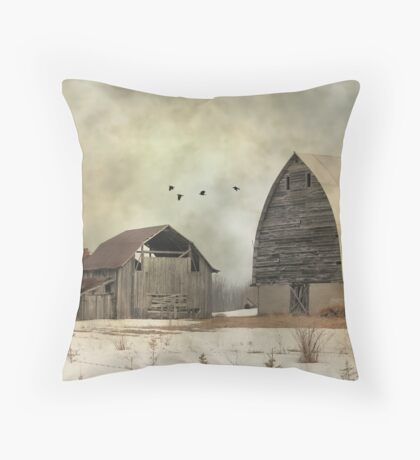 Old Barns - Landscape Photograph  Throw Pillow