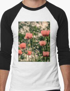 Pink Poppy in late everning light Men's Baseball ¾ T-Shirt