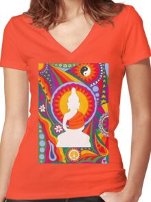 Psychedelic Buddha Women's Fitted V-Neck T-Shirt