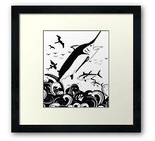 Black N White Marlin Scene Framed Print