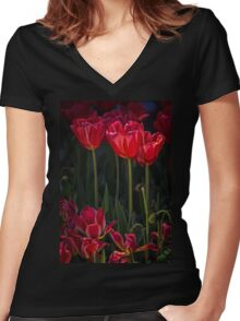 Red Tulips Women's Fitted V-Neck T-Shirt