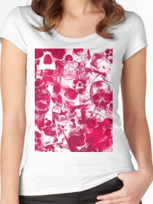 Pink Skulls Women's Fitted Scoop T-Shirt