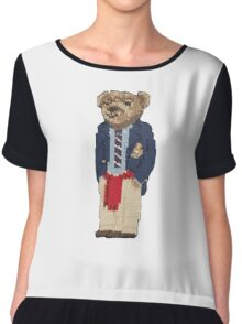 Polo Bear: Knit in Blazer w/ Red Sweater Chiffon Top