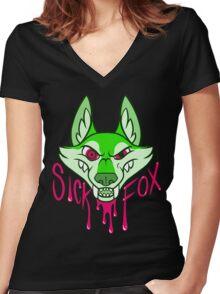 Sick Fox Women's Fitted V-Neck T-Shirt