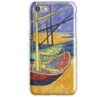 Vincent Van Gogh - Fishing Boats On The Beach iPhone Case/Skin