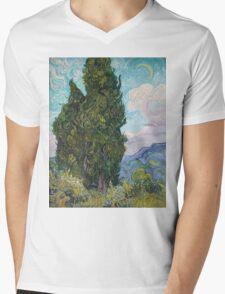 Vincent Van Gogh - Cypresses .  Van Gogh - Cypresses  Mens V-Neck T-Shirt