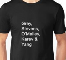 Greys Anatomy Original Character Surnames Unisex T-Shirt