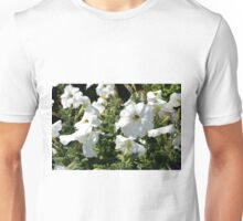 White flowers in the garden, natural background. Unisex T-Shirt