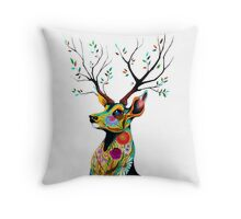 Deer Flower Throw Pillow