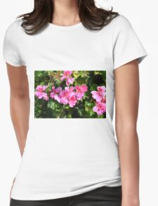 Pink flowers in the garden, natural background. Womens Fitted T-Shirt