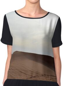 Sand dunes in the desert and cloudy sky. Chiffon Top