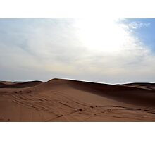 Sand dunes in the desert and cloudy sky. Photographic Print