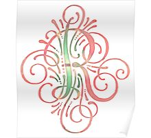 Monogram Watercolor Typography Letter R Poster