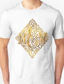 Wedding Monogram in Gold Letters M and W T-Shirt