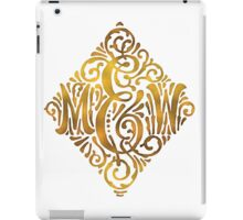 Wedding Monogram in Gold Letters M and W iPad Case/Skin