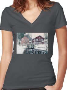 Old fish farming factory Women's Fitted V-Neck T-Shirt