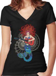 Musical Mermaid Women's Fitted V-Neck T-Shirt