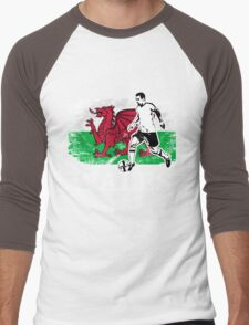 Soccer - Fußball - Wales Flag Men's Baseball ¾ T-Shirt