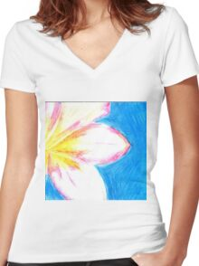 Peaceful Plumeria  Women's Fitted V-Neck T-Shirt