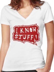 I know stuff Women's Fitted V-Neck T-Shirt