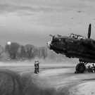 Time to go: Lancasters on dispersal, B&W version by Gary Eason