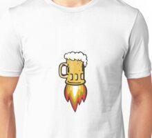 Beer Mug Rocket Ship Blasting Retro Unisex T-Shirt