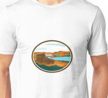 RV Camper Van Desert Scene Oval Retro Unisex T-Shirt