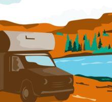 RV Camper Van Desert Scene Oval Retro Sticker