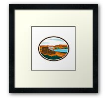 RV Camper Van Desert Scene Oval Retro Framed Print