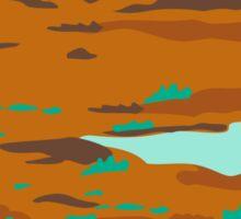 Desert Scene Circle Retro Sticker